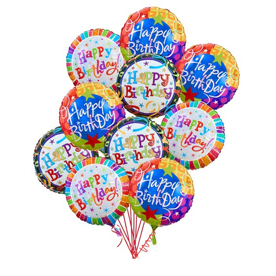 Happy Birthday 10 Balloons Bouquet